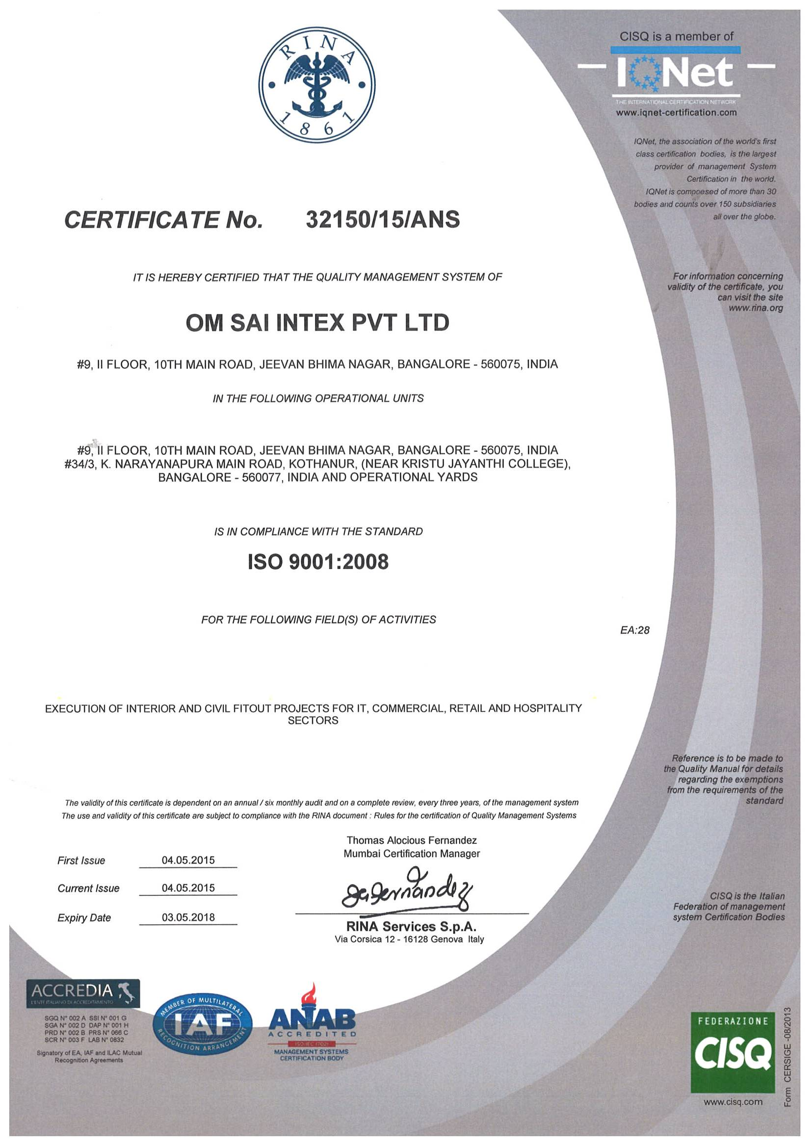 Iso certification om sai intex om sai intex pvt ltd has become an iso certified company certified under quality management system iso 90012008 and under occupational health and safety xflitez Images